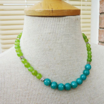 Olive Green and Aqua Blue Kyanite Necklace, Kyanite Necklace, Green and Blue Gemstone Necklace