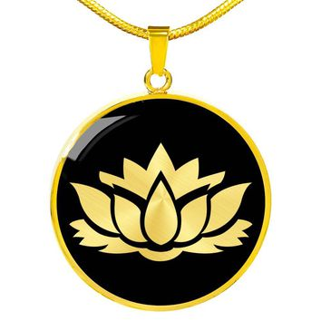 Lotus Flower v2 - 18k Gold Finished Luxury Necklace