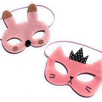 Bunny Rabbit and Kitty Cat Costume and Dress Up Masks