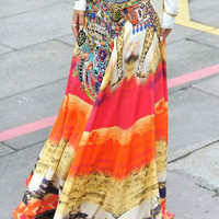 Orange Color Block Mixed Folk Print Maxi Skirt