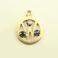 """Initial """"W"""" 14 K Gold Pendant with Sapphires and Diamond"""