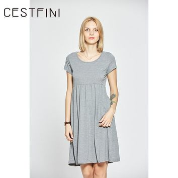 Fashion Summer Dress Solid Loose Women Dress Casual gray Color