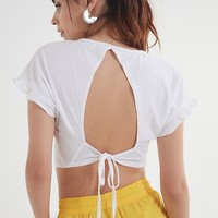 Truly Madly Deeply Tie-Back Flutter Top | Urban Outfitters