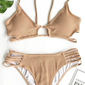 Cupshe Tender Looks Solid Bikini Set