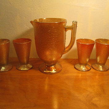 Vintage Jeanette Glass Lemonade Pitcher and Four Glasses Marigold Color