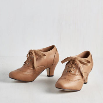 Vintage Inspired Dance It Up Heel in Tan