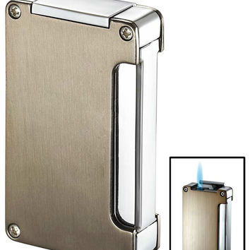 Visol Zidane Satin Nickel and Chrome Cigar Lighter with Built-in Cigar Punch