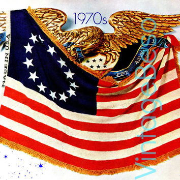 Knitting PATTERN Vintage 1970s Flag Day Bicentennial Inspired American Revolutionary Flag AFGHAN Patriotic VintageBeso Instant Download Pdf