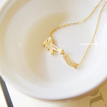 Fly With Me Airplane Charm Necklace,  Dainty Charm Necklace, Necklaces, Hipster Necklace, Charms, Holiday Gifts, Gift Ideas, Arrow Necklace