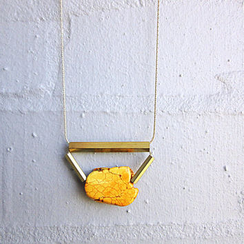 NL-197 Yellow Turquoise Nugget Slab with Rectangular and Hexagonal Vintage Colour Brass Tubes in 16K Gold Plated Chain