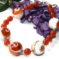 """Dreamsicle"" - Orange Operculum Shell and Faceted Carnelian One of a Kind Handmade Necklace by ShadowDogDesigns"