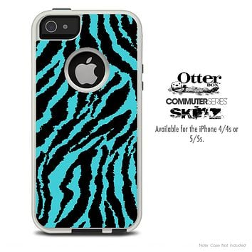 The Vector Blue Zebra Print Skin For The iPhone 4-4s or 5-5s Otterbox Commuter Case