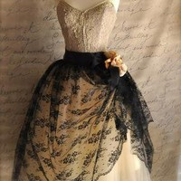 Mlle Chantilly Lace French black chantilly lace over by TutusChic