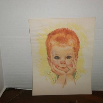 vintage northern bathroom tissue red haired boy print picture wall decor