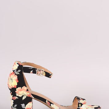 Bamboo Printed Ankle Strap Chunky Heel