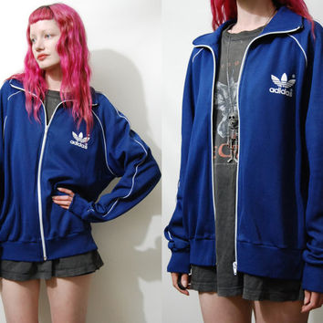 70s Vintage ADIDAS Jacket Old School Trefoil Track Tracksuit Sweatshirt Navy Blue Sports Athletics vtg 1970s M L