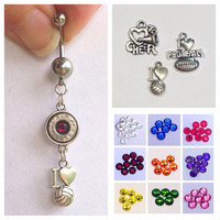 Bullet belly ring with sports charm. Volleyball. Football. Cheerleading. Bullet jewelry. School jewelry