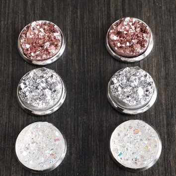 Druzy earring set- Posh drusy stud set - druzy earrings
