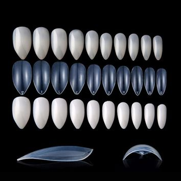 100pcs/lot Acrylic Sharp Ending False Nails ABS Full Cover Claw Nail Tips Natural/White/Transparent Talon Fake Nail Tips Art