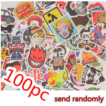 100 pcs Stickers mixed Hot sale Snowboard Doodle Luggage Laptop Decal Toys Bike Car Moto Funny Cartoon Jdm Sticker