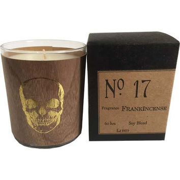 Gold Skull Frankincense Wood Candle No. 17