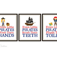 "Pirate Bathroom Art Prints - Set of 3 Prints - ""Even Little Pirates Wash Their Hands"" - Kids Bathroom Decor - Bathroom Decor - Baby Nursery"