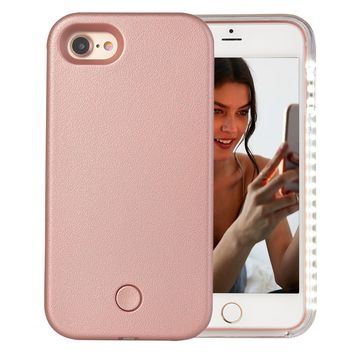 iPhone 7 Case, iPhone 8 Case, AUYOUWEI LED Illuminated Selfie Light Case Cover [Rechargeable] Light Up Luminous Selfie Flashlight Cell Phone Case for iPhone 7 / 8 (Rose Gold)