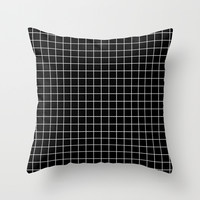 Black and White Geometric Grid Print Throw Pillow by Poindexterity
