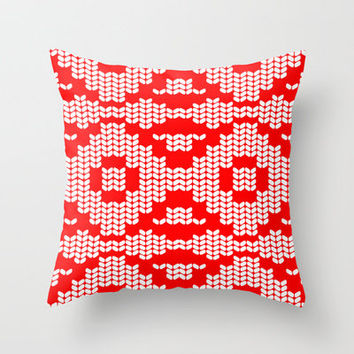 red patterned knitted fabric Throw Pillow by ArigigiPixel