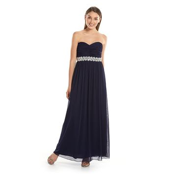 Trixxi Strapless Ruched Juniors' Maxi Dress, Size: