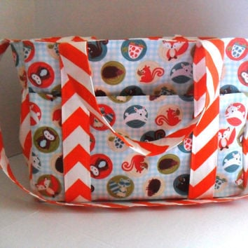 Extra Large  Diaper bag Made of Orange and White  Chevron with Fox - Owl Fabric / Elastic Pockets - Ready To Ship