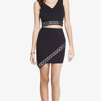 Jeweled Cut-Out Cropped Top & Asymmetrical Mini from EXPRESS