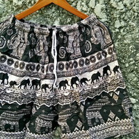 Unisex Summer Beach Large Shorts Elephants Print Boho Hippie festival Clothing Aztec Ethnic Bohemian Short Pants Black white fabri Men Women