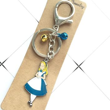 New Alice in Wonderland Princess Key Chains Pendant Keyring color Bell Best Gift Bell Random Color party gifts