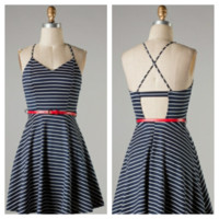 Navy Striped Dress with belt