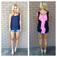Hot Pink Bow Back Chiffon Tank