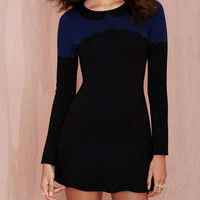 Black and Blue Doll Collar Long Sleeve Dress