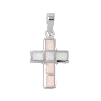 """Sterling Silver Lab White Opal Cross Pendant 20MM (Free 18"""" Chain)"""