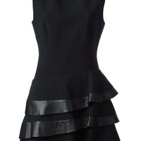 Emanuel Ungaro leather trimmed frill dress