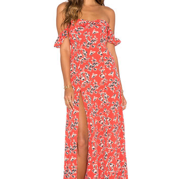 FLYNN SKYE x REVOLVE Bardot Maxi Dress in Red Ditsy