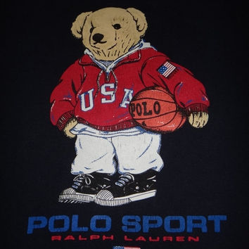 New Year Sale Vintage POLO SPORT Ralph Lauren Bear 1990s Basketball Hip Hop No Stadium P Wing Made In Usa