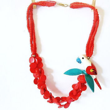 Vintage Red Bead Hawaiian Necklace Fun Jewelry Bright Colored Wood Parrot Luau