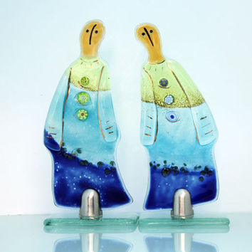 fused glass figure Sculpture , Pair of unisex Figure  (set of 2)