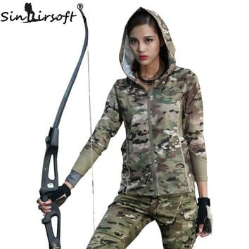 SINAIRSOFT Women Camouflage Long Sleeve Hooded Military Tactical Urban Camo for Jogging Running Outdoor Sports Airsoft LY2003