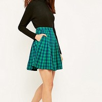 Peter Jensen Pleated Green Check Skirt - Urban Outfitters