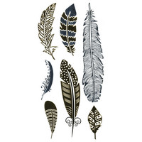 Feather Metallic Temporary Tattoos Gold One Size For Women 25704444201