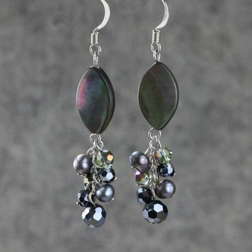Gray abalone shell dangling chandelier Earrings Bridesmaids gifts Free US Shipping handmade Anni Designs