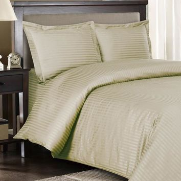 Stripe linen Down Alternative Bed in A Bag Combed cotton 600 Thread count