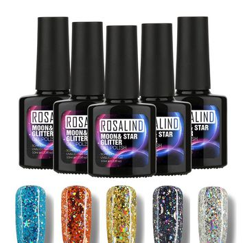 ROSALIND P+Black Bottle 10ML Star&Moon Glitter S01-12 UV LED Soak-Off Gel Nail Polish Nail Art Nail Gel Polish 3D Manicure Gel