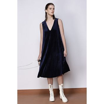 Velvet Dress In Navy CRDR0016